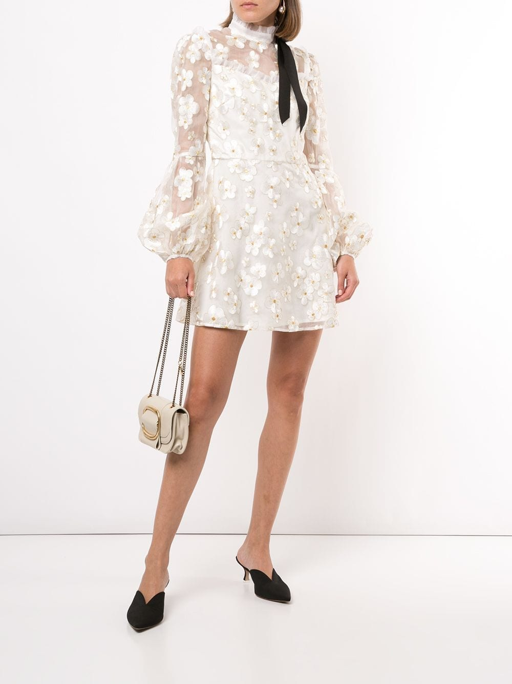 MACGRAW Corsage Embroidered Organza Mini Dress