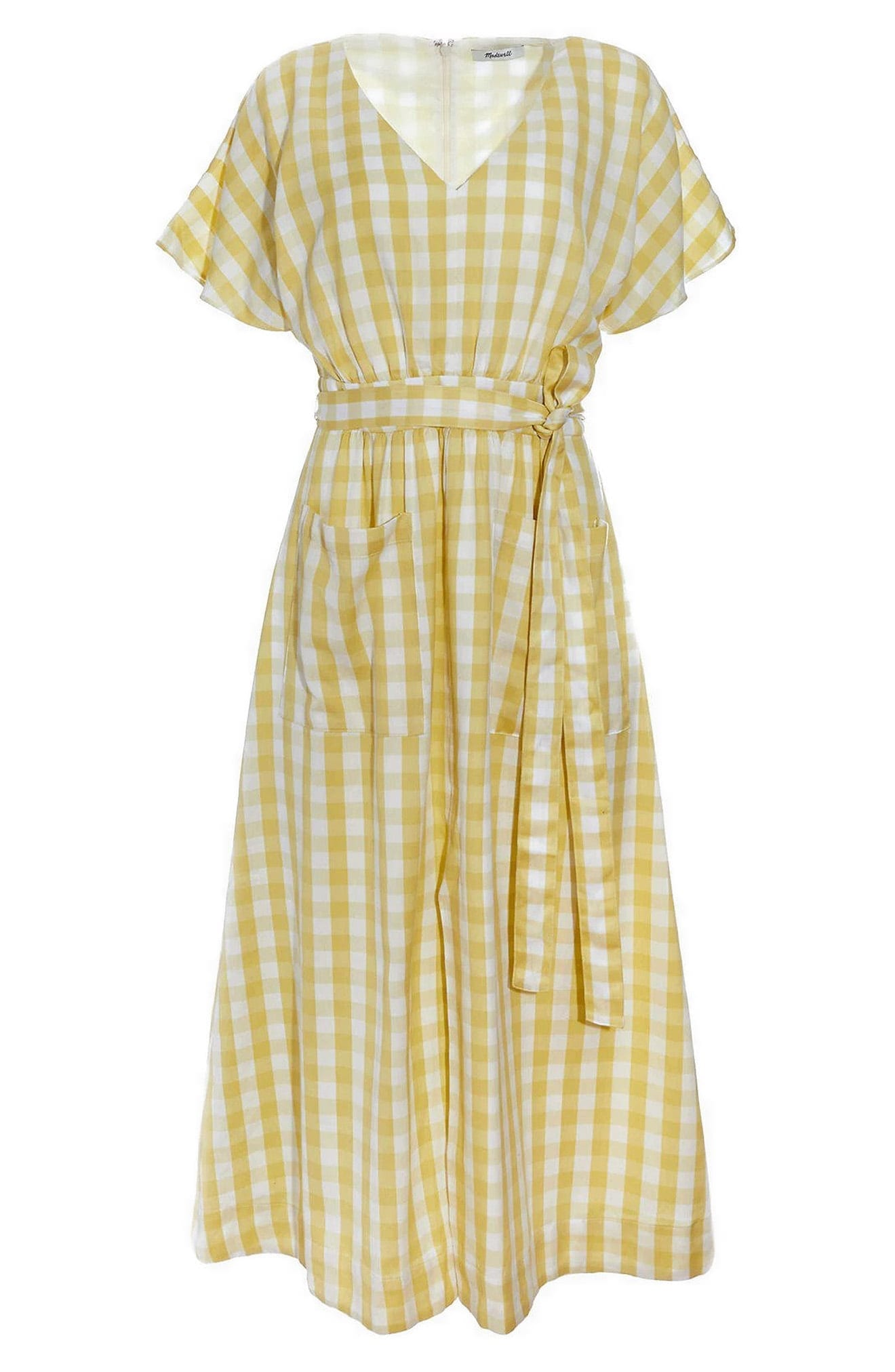MADEWELL Gingham Check Dolman Sleeve Tie Waist Midi Dress
