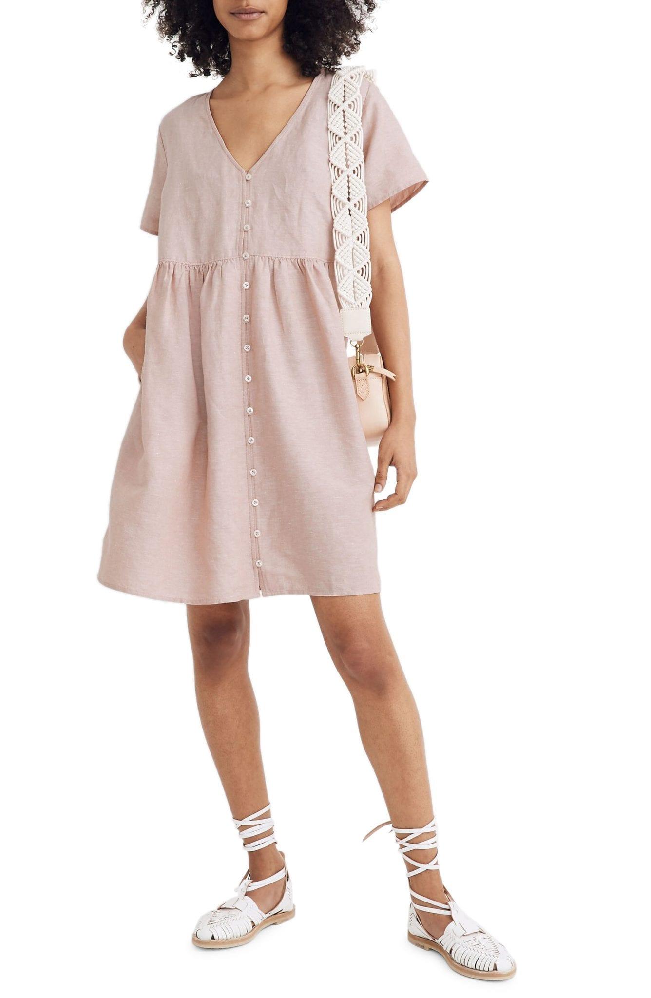 MADEWELL V-neck Button Front Linen Blend Mini Dress