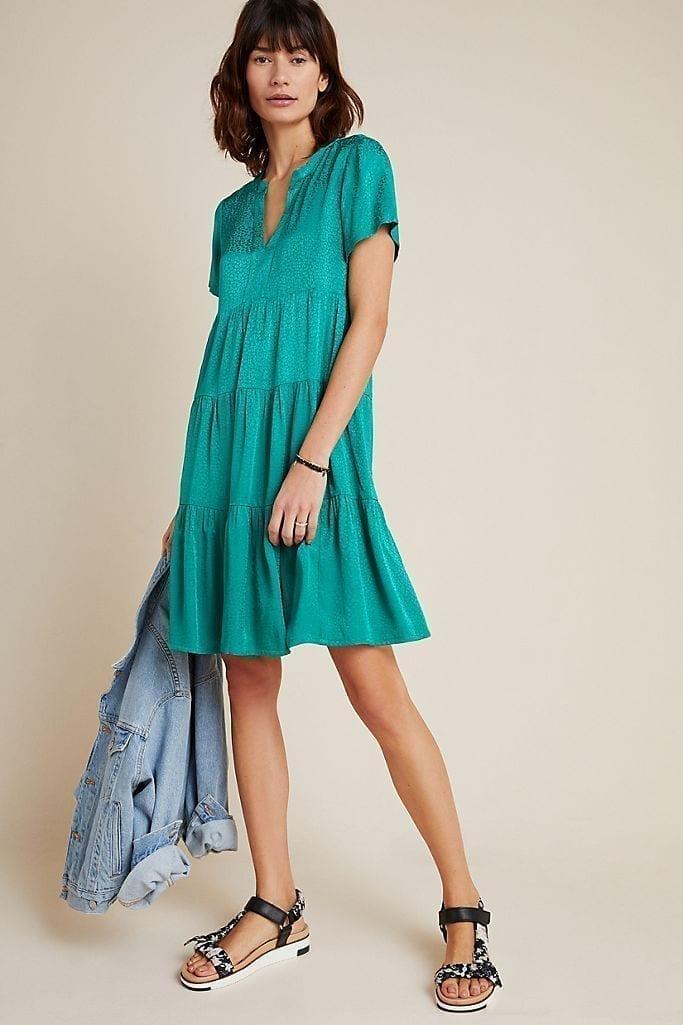 MAEVE Sacha Jacquard Tiered Tunic Dress