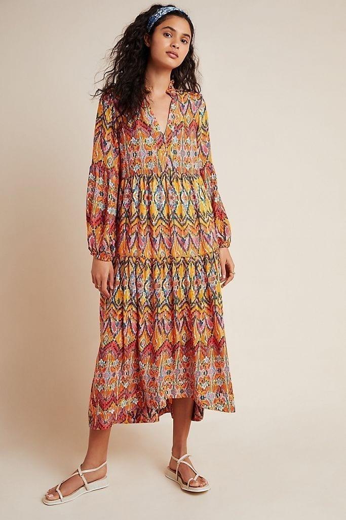 MAEVE Tamarind Tiered Maxi Dress