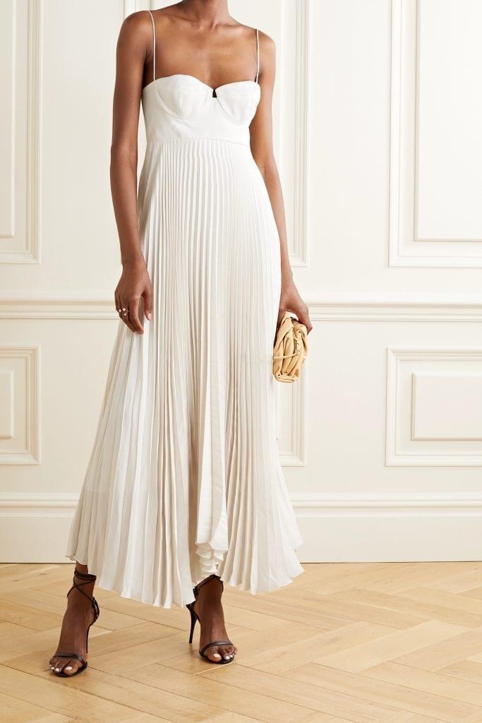 MAGDA BUTRYM Pleated Crepe Maxi Dress