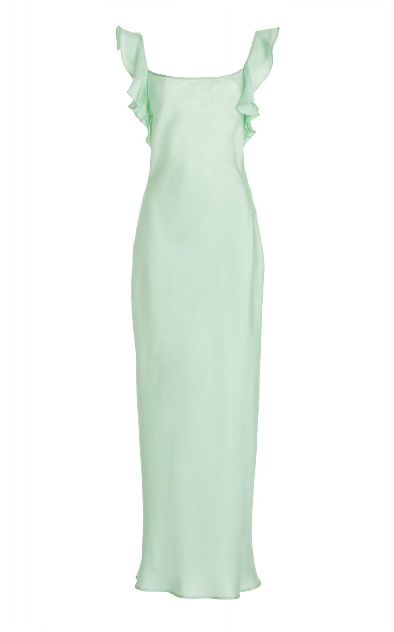 MAGGIE MARILYN Cover Girl Ruffled Silk-Satin Maxi Dress