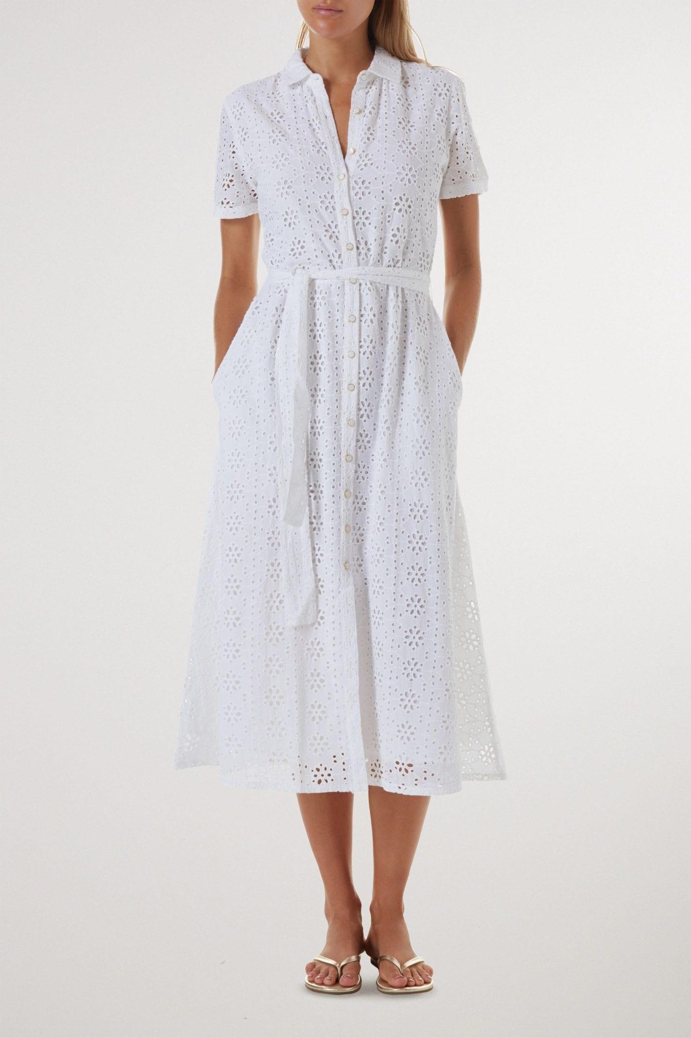 MELISSA ODABASH Vanessa Belted Broderie Anglaise Cotton Midi Shirt Dress