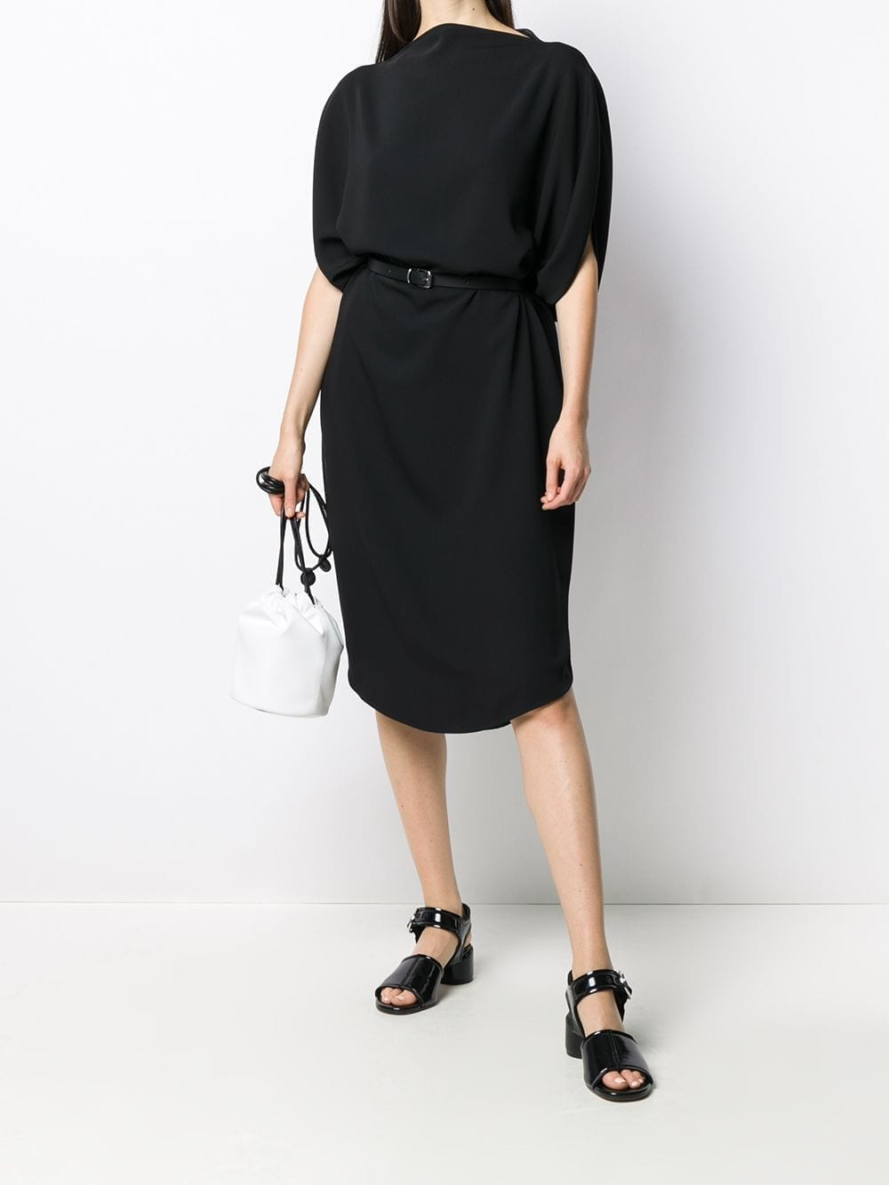MM6 MAISON MARGIELA Belted Draped Sleeves Midi Dress