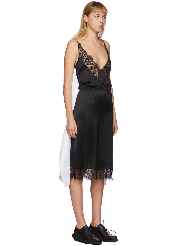 MM6 MAISON MARGIELA White & Black Back Panel Slip Dress