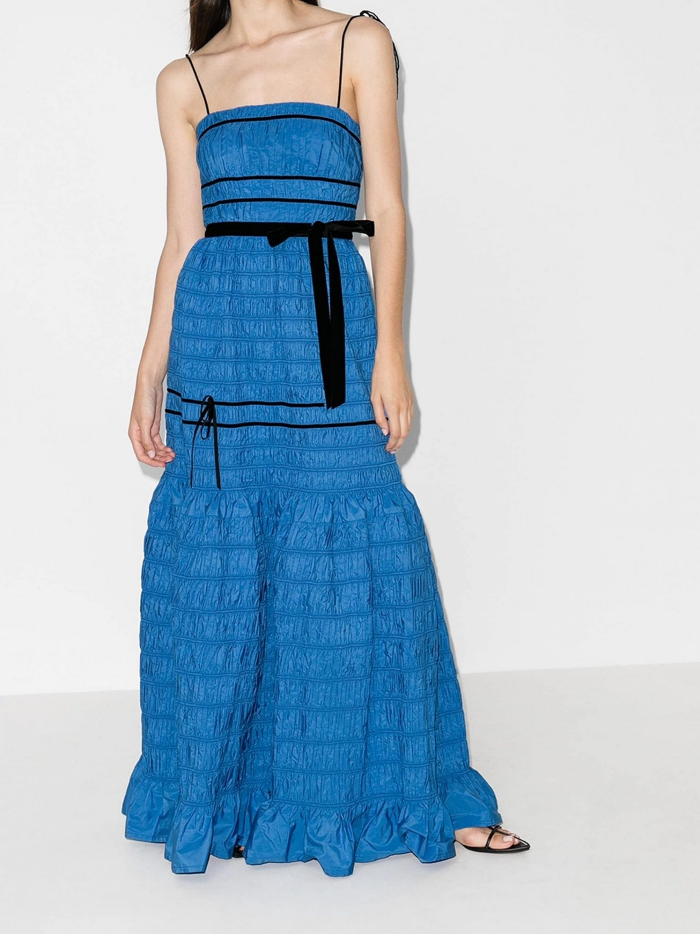 MOLLY GODDARD Shirred Tiered Gown