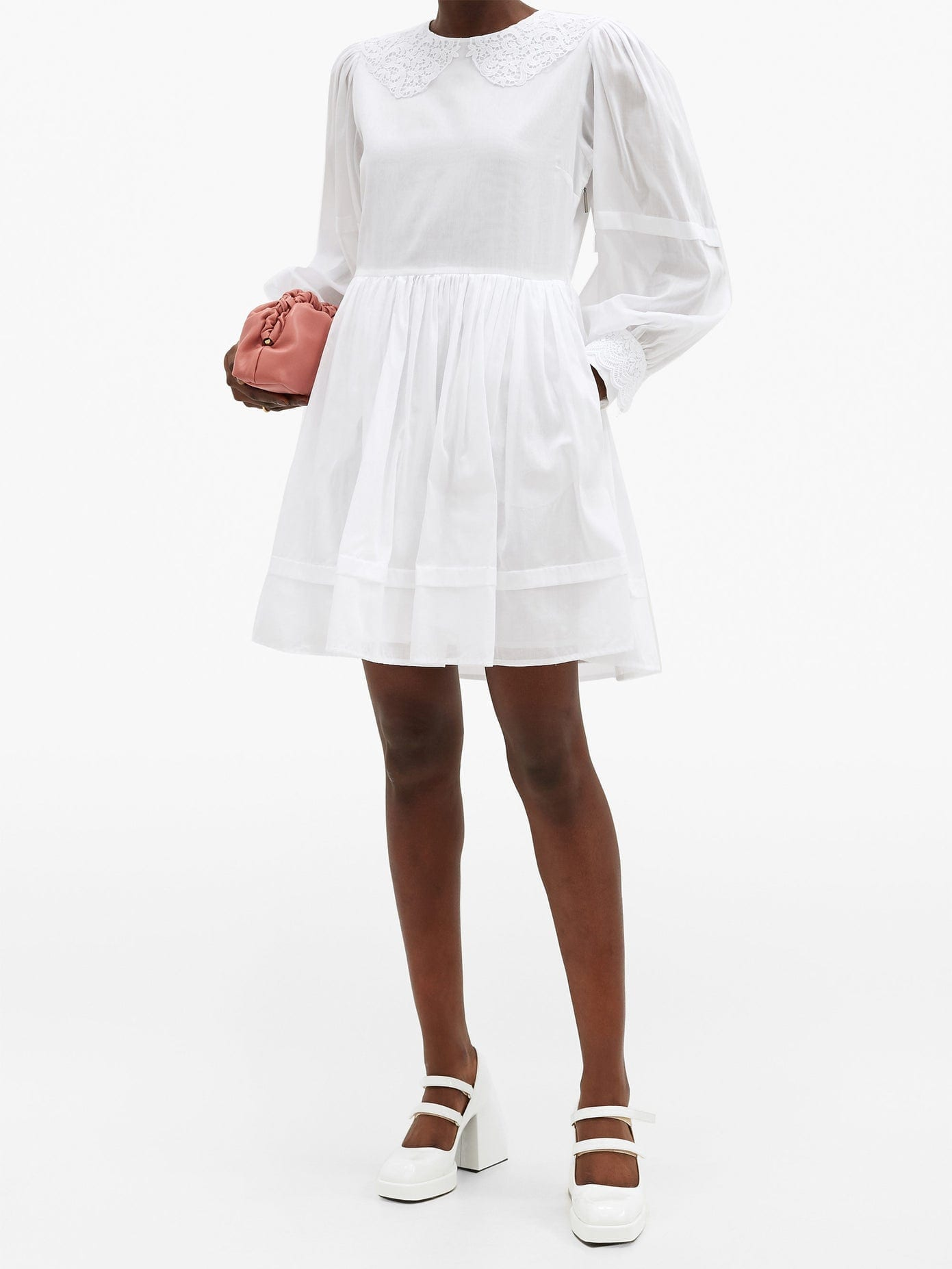 MSGM Broderie Anglaise-trimmed Cotton Dress