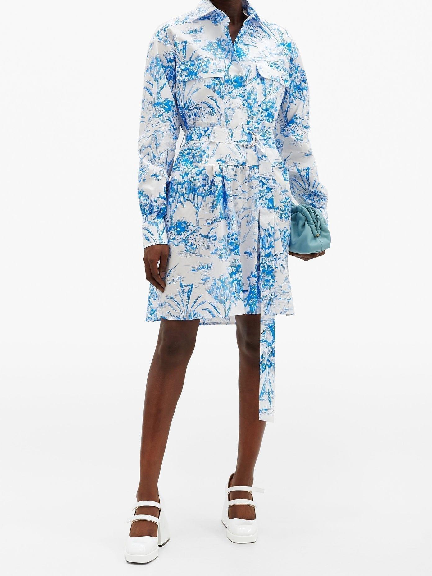 MSGM Jungle-print Cotton Shirt Dress