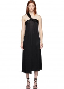 NANUSHKA Black Satin Single Strap Zena Dress