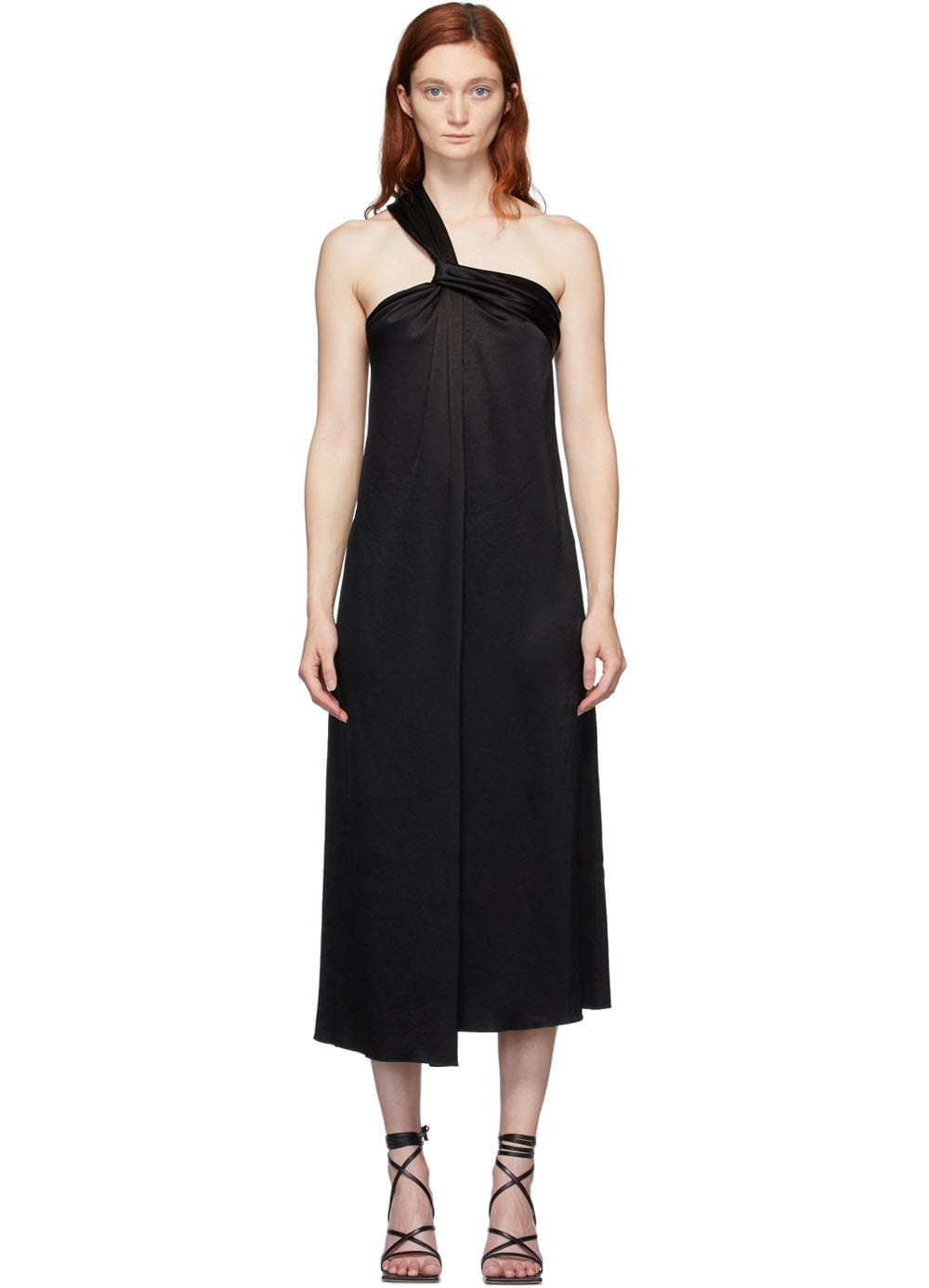 NANUSHKA Black Satin Single Strap Zena Dress