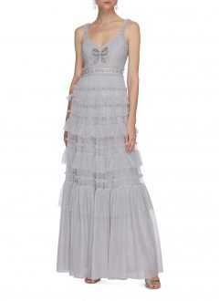NEEDLE & THREAD Belted Sequin Embellished Ruffle Sleeveless Gown