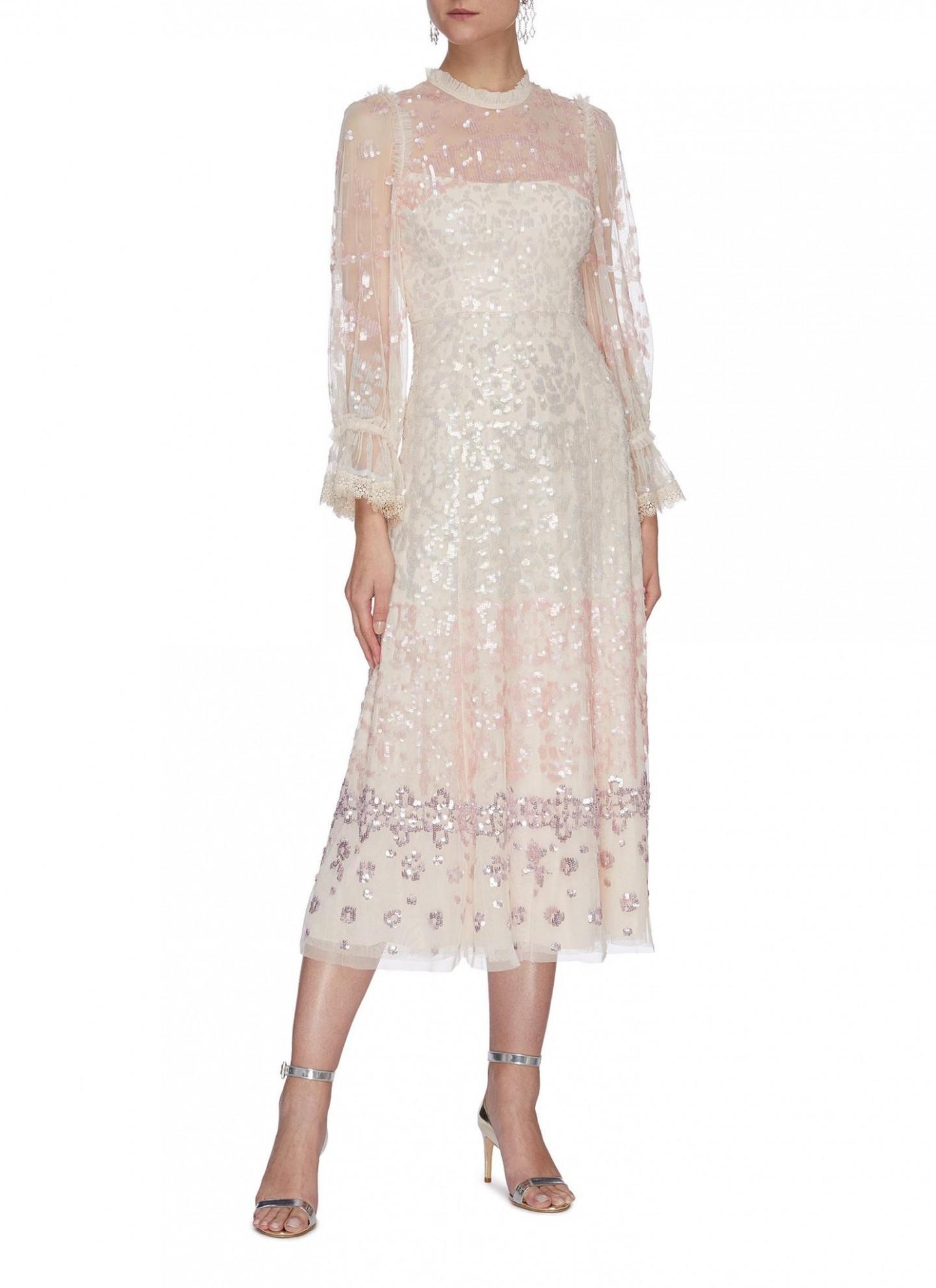 NEEDLE & THREAD Sequin Embellished Trumpet Sleeve Tulle Ballerina Midi Dress