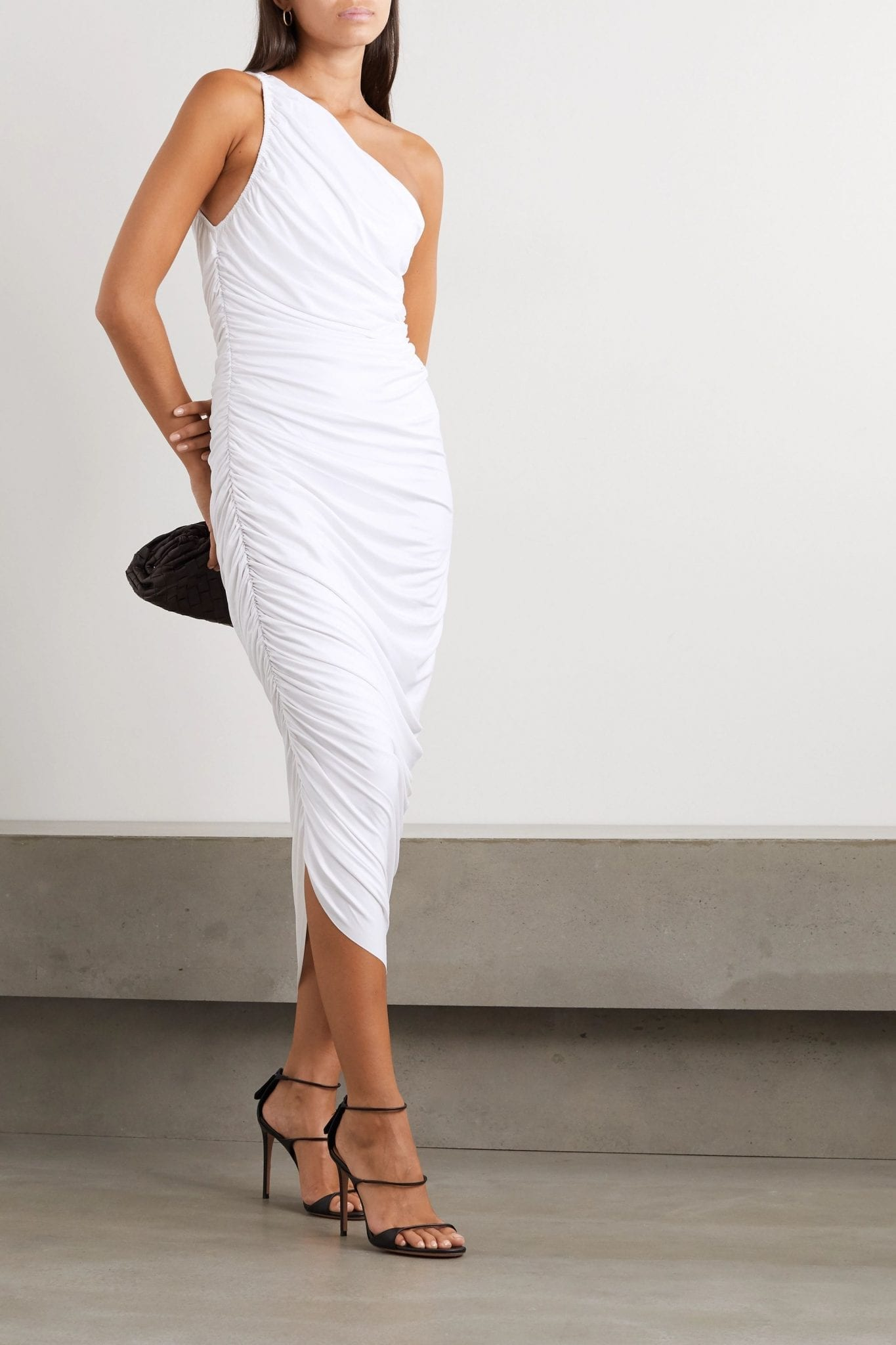 NORMA KAMALI Diana One-shoulder Ruched Stretch-jersey Dress