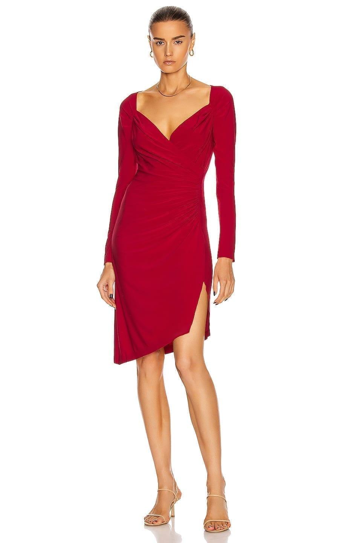 NORMA KAMALI Long Sleeve Sweetheart Dress