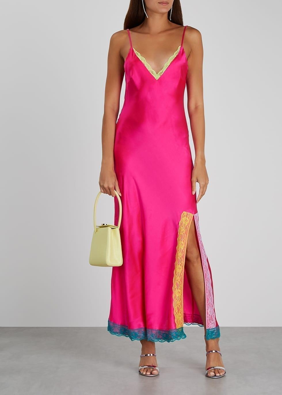 OLIVIA RUBIN Veronica Hot Pink Silk Midi Dress