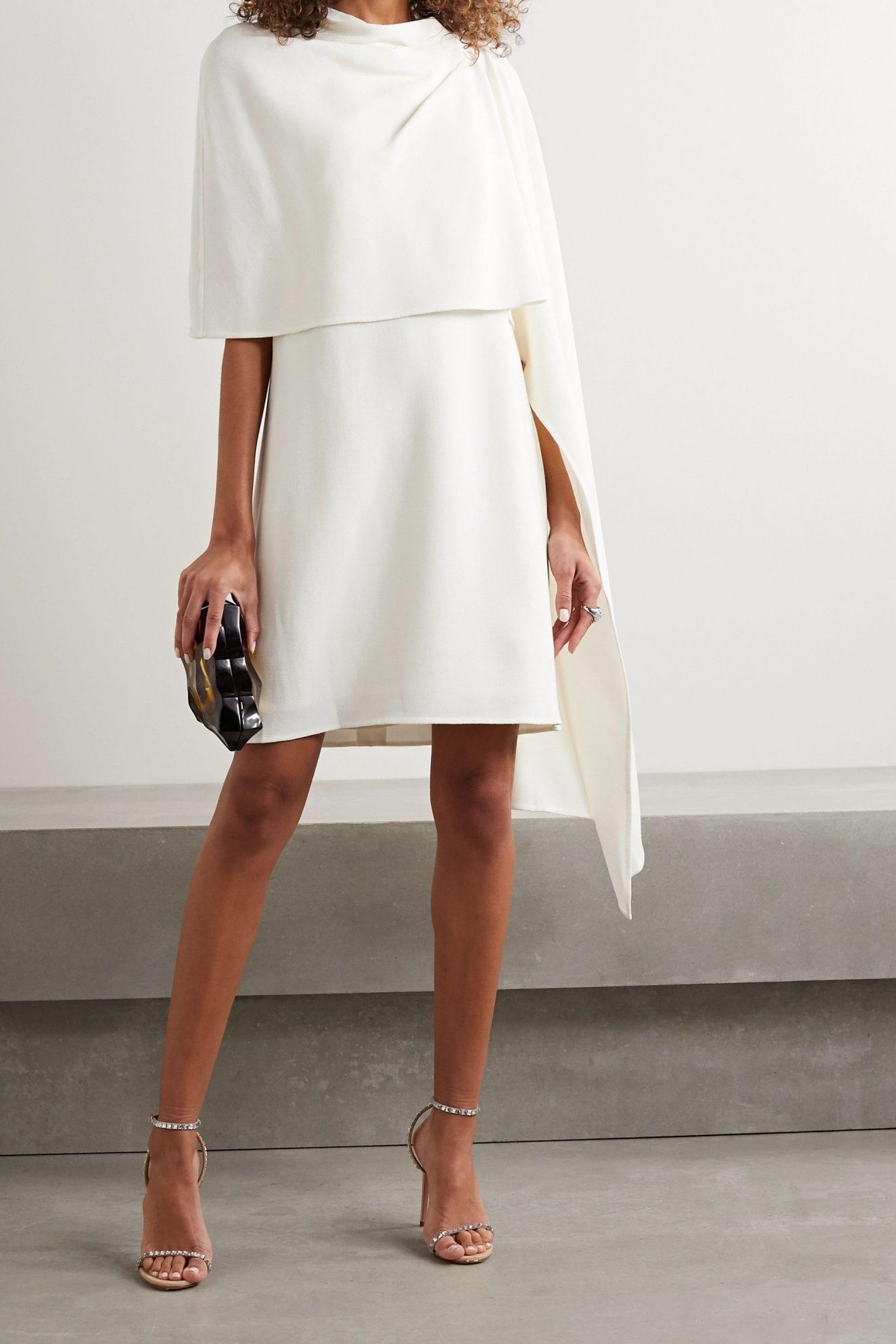 OSCAR DE LA RENTA Layered Draped Wool-blend Crepe Mini Dress