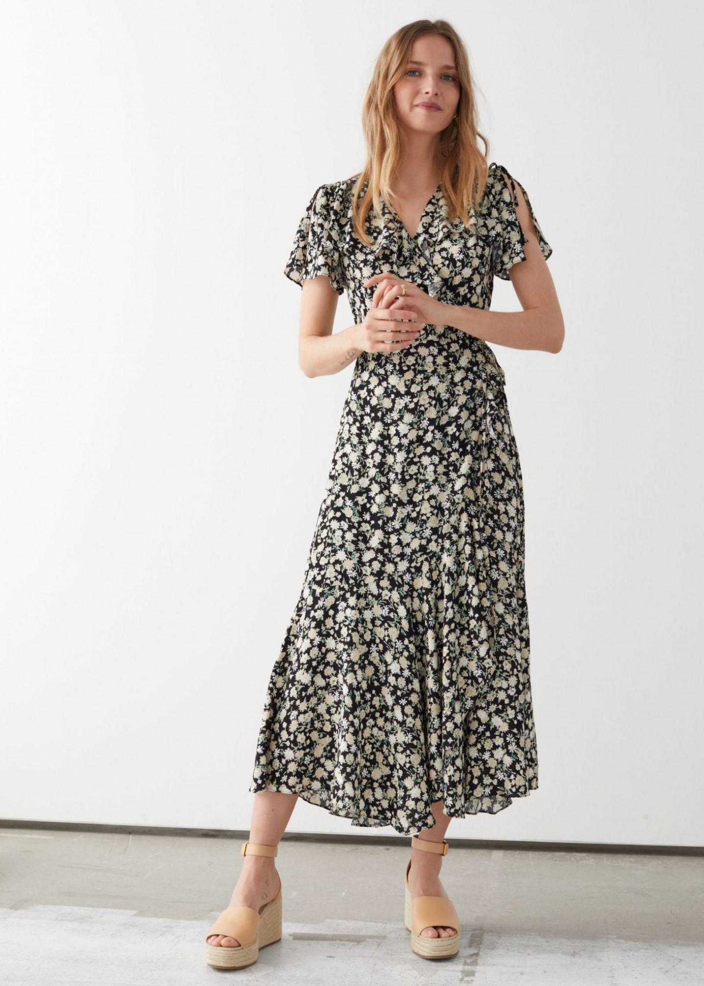 & OTHER STORIES Asymmetric Wrap Midi Dress