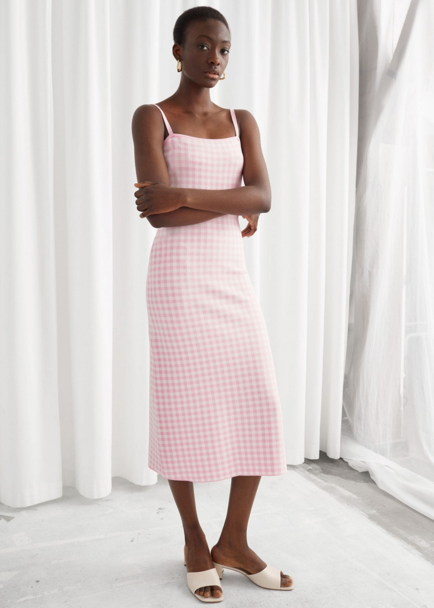 & OTHER STORIES Fitted Gingham Midi Dress