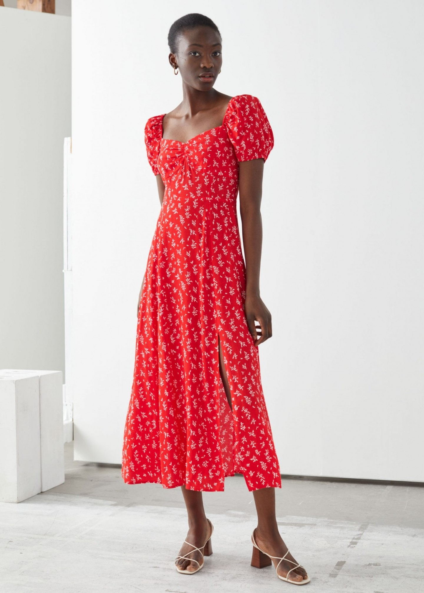 & OTHER STORIES Flowy Puff Sleeve Midi Dress