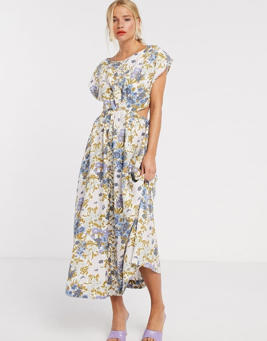 & OTHER STORIES Retro Floral Print Cut-out Detail Midi Dress
