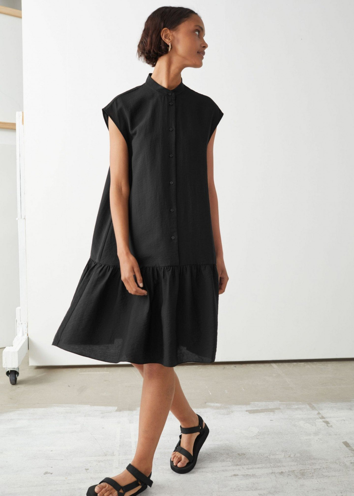 & OTHER STORIES Voluminous Buttoned Midi Dress