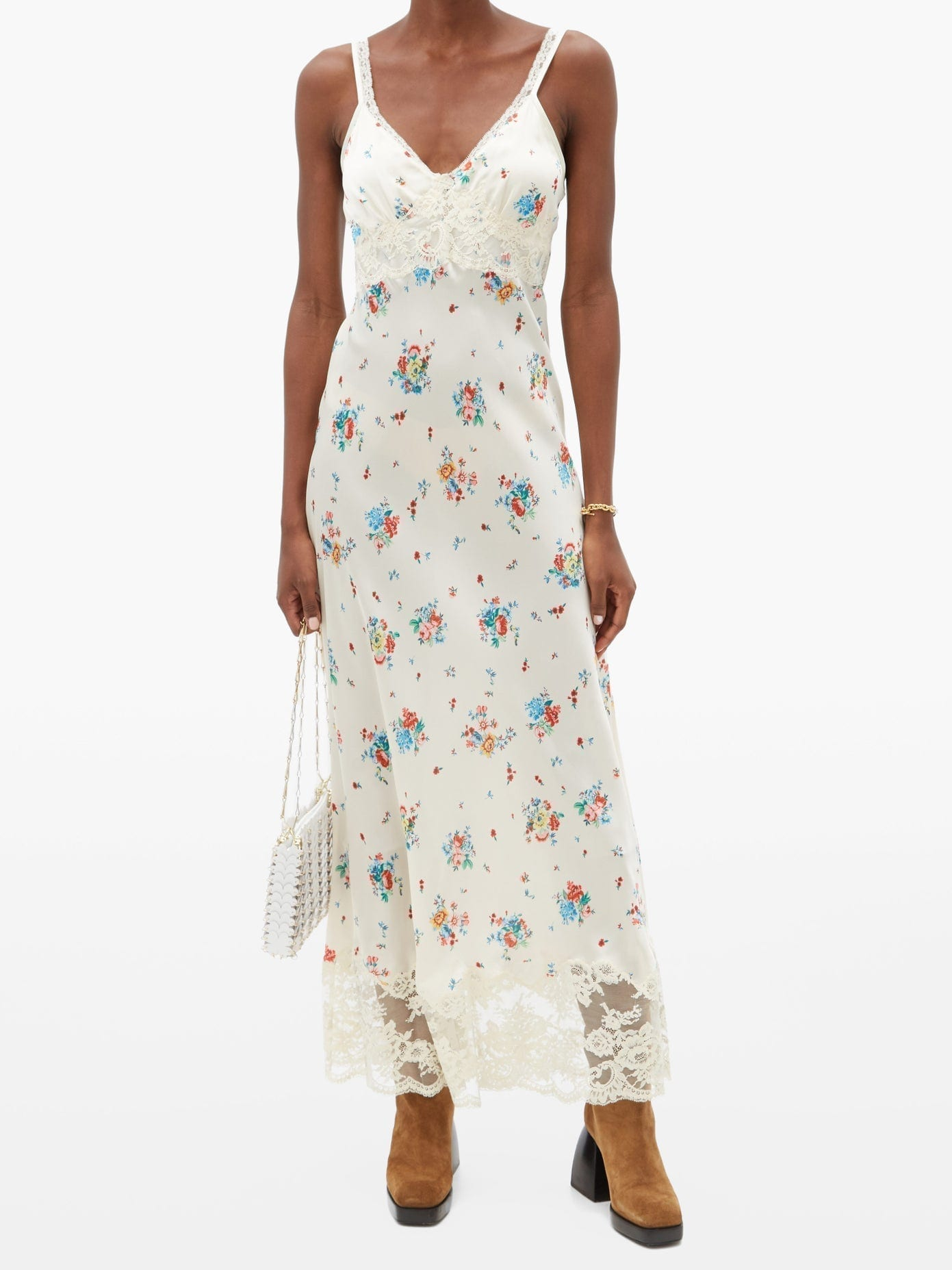 PACO RABANNE Lace-trim Floral-print Satin Slip Dress