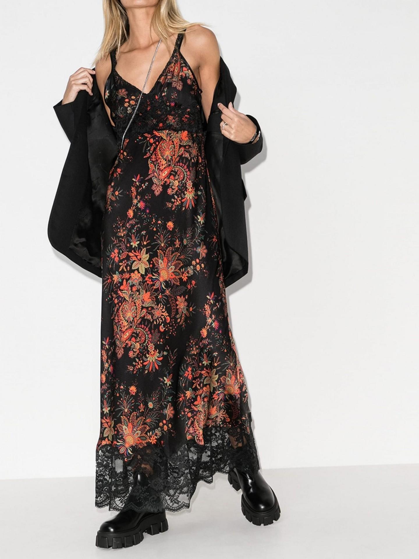 PACO RABANNE V-Neck Printed Floral Dress