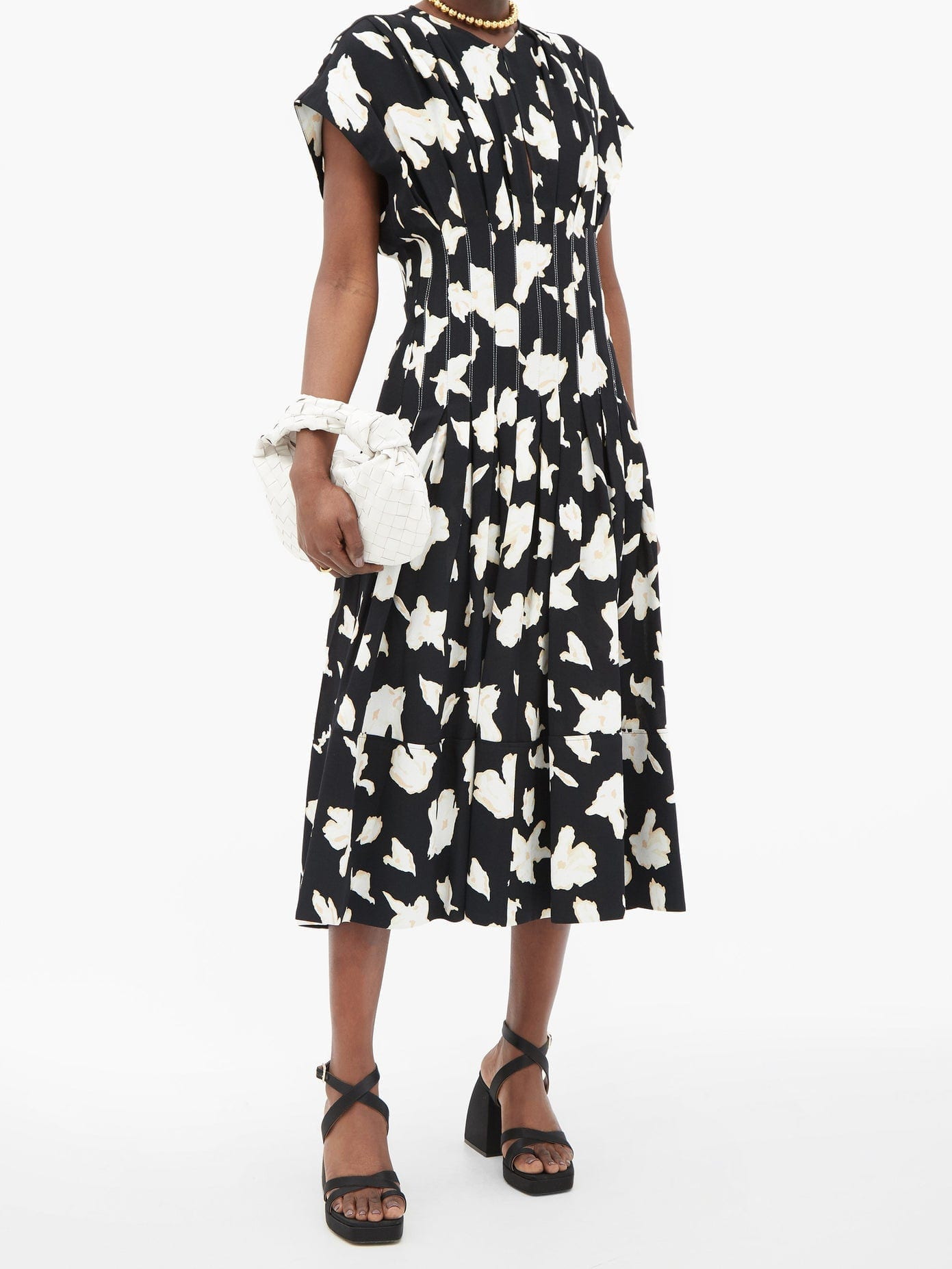 PROENZA SCHOULER Pintucked-waist Pleated Floral-print Crepe Dress