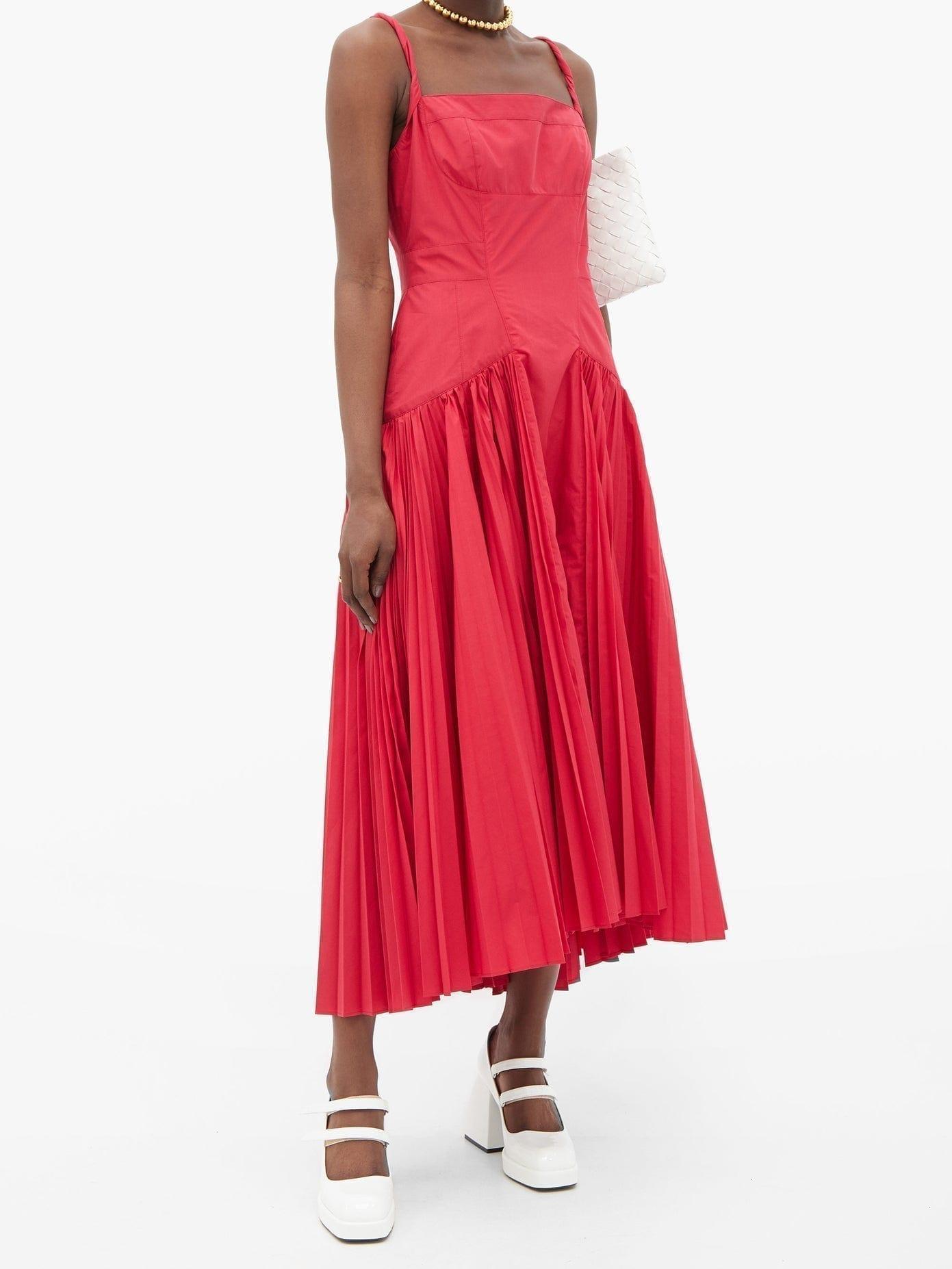 PROENZA SCHOULER Twisted-strap Pleated Cotton-blend Midi Dress