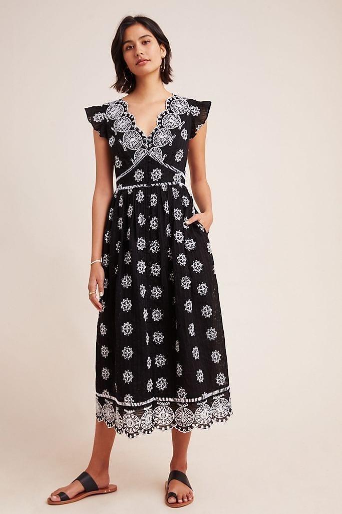 RANNA GILL Tomine Embroidered Eyelet Midi Dress
