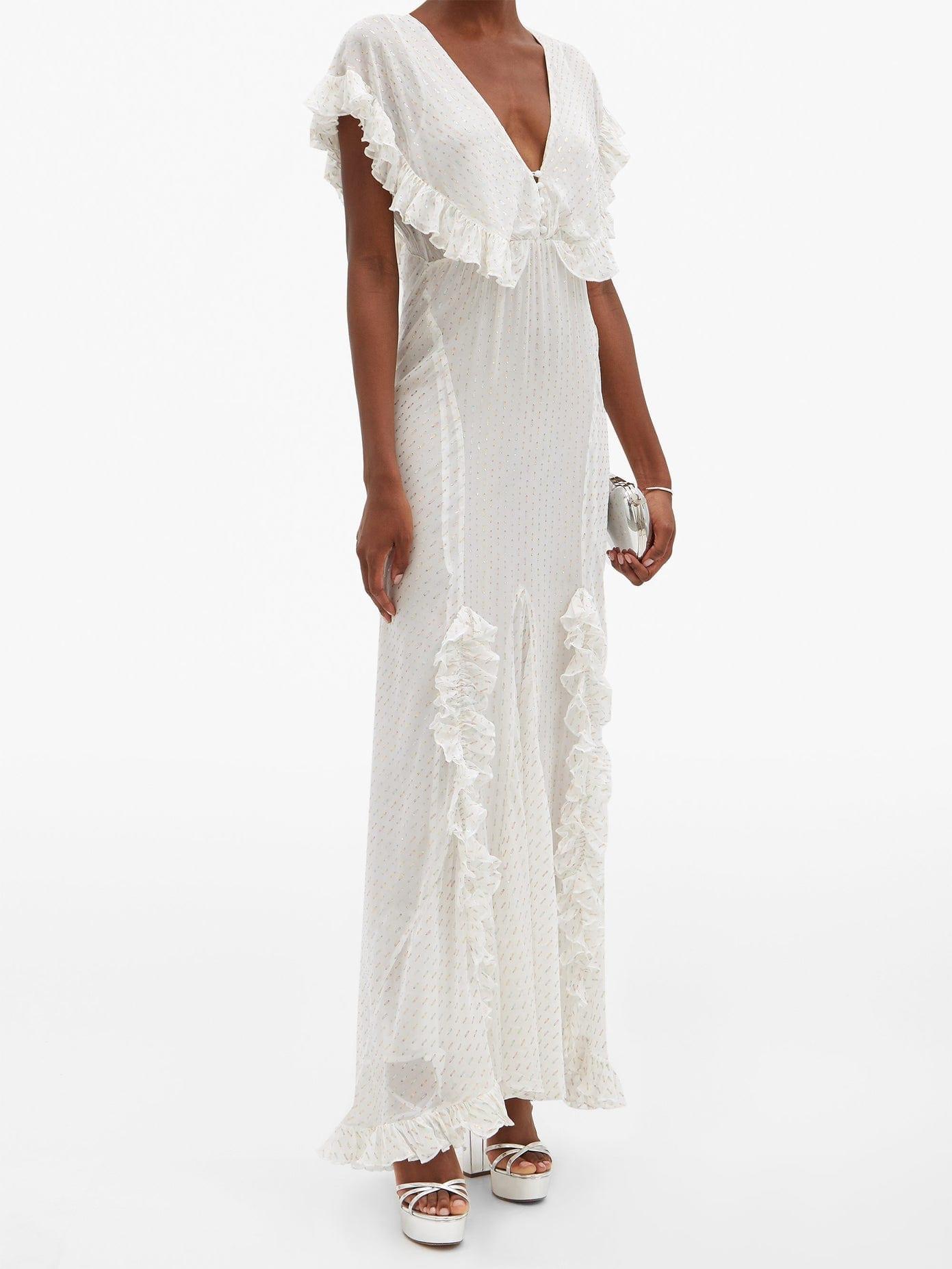 Rat Boa Ruffled Metallic Fil Coupe Maxi Dress We Select Dresses,Wedding Dresses For Men