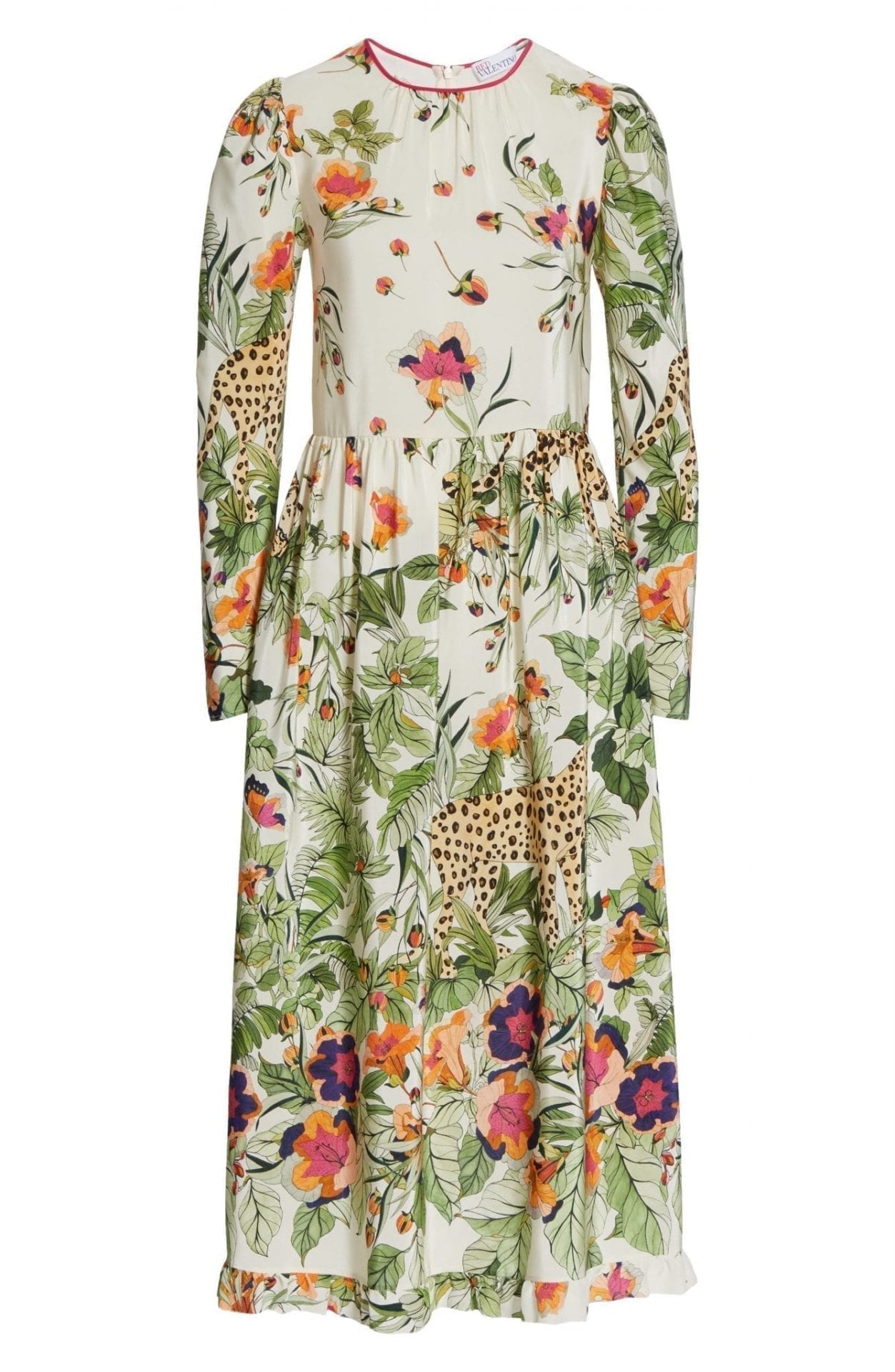 RED VALENTINO Jungle Print Long Sleeve Silk Midi Dress