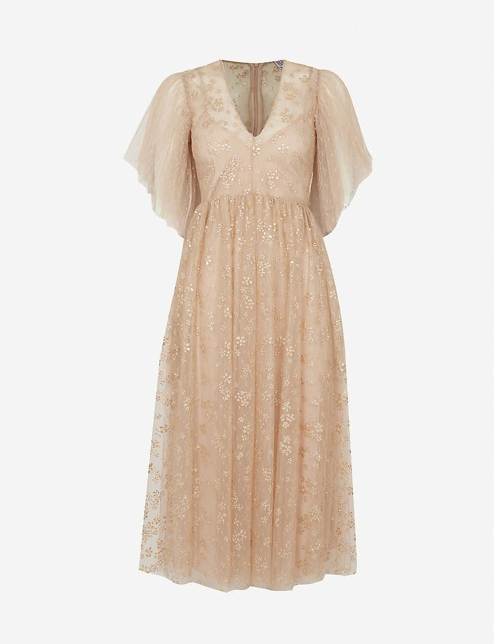 RED VALENTINO Sequin-embellished Tulle Midi Dress
