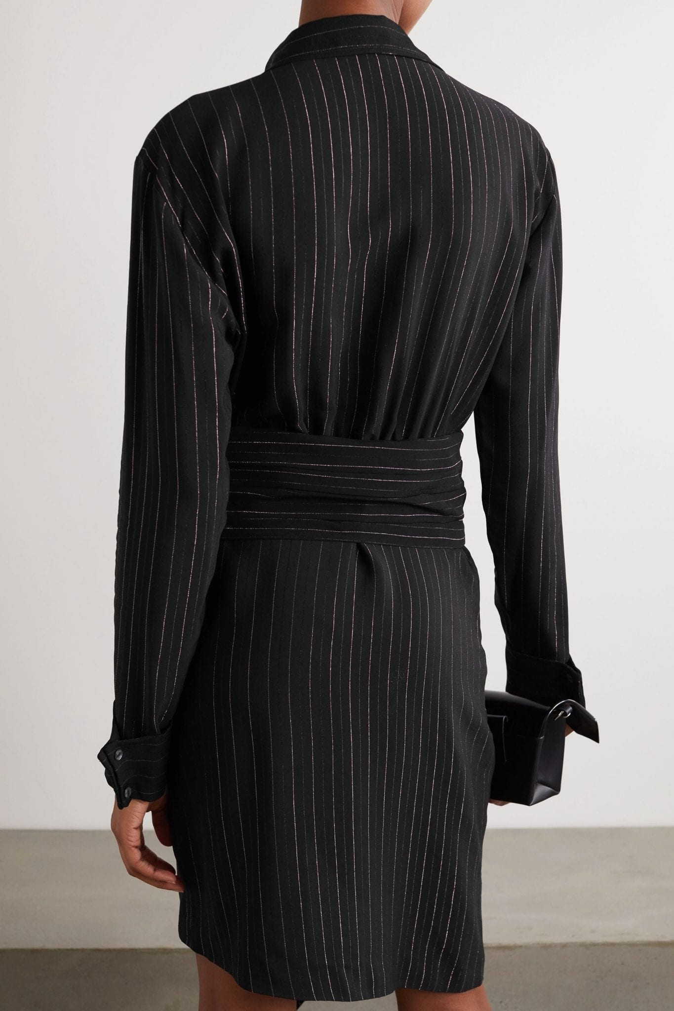 REDEMPTION Draped Belted Striped Crepe Mini Dress
