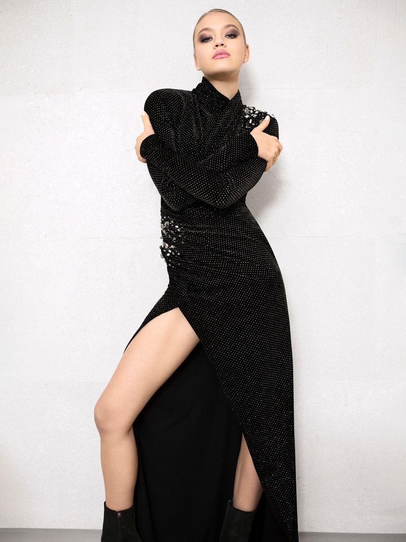 REDEMPTION Glittered Velvet Long Dress