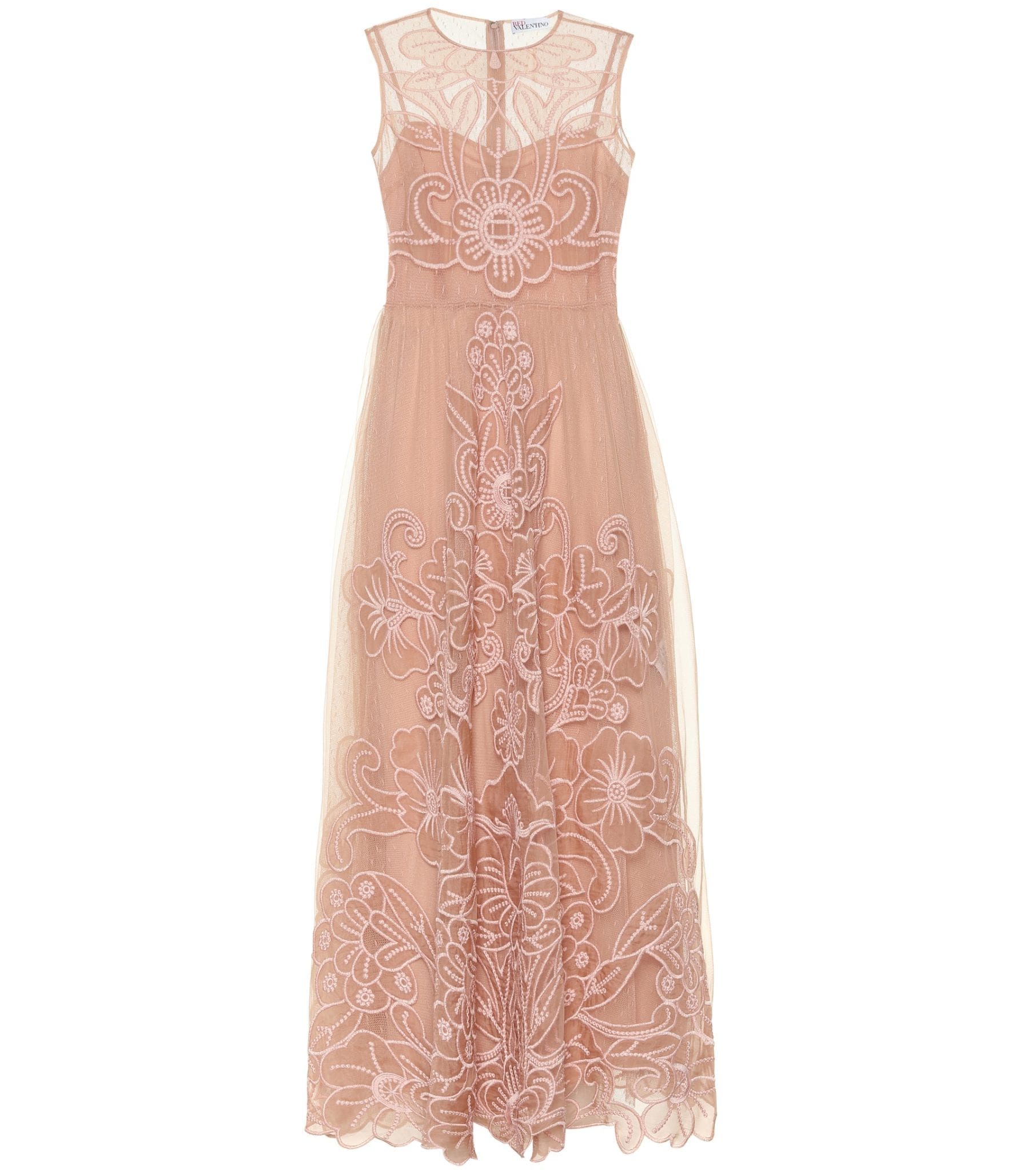 REDVALENTINO Embroidered Silk Gown