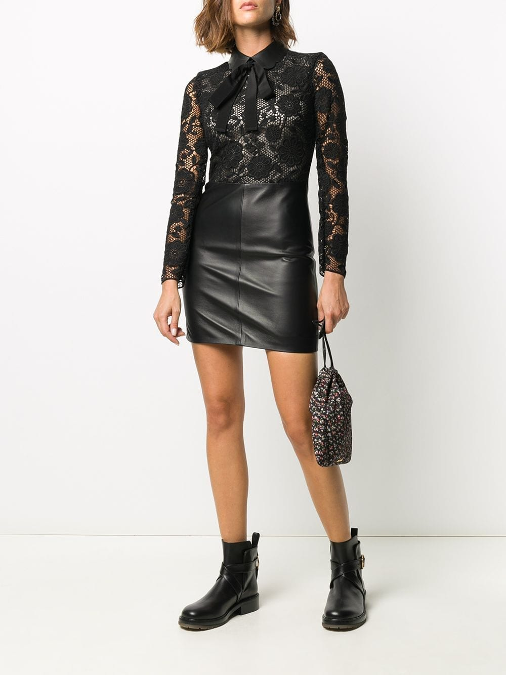 REDVALENTINO Lace Leather Panel Dress