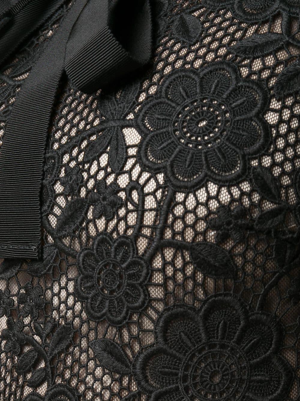 REDVALENTINO Lace Leather Panel Dress