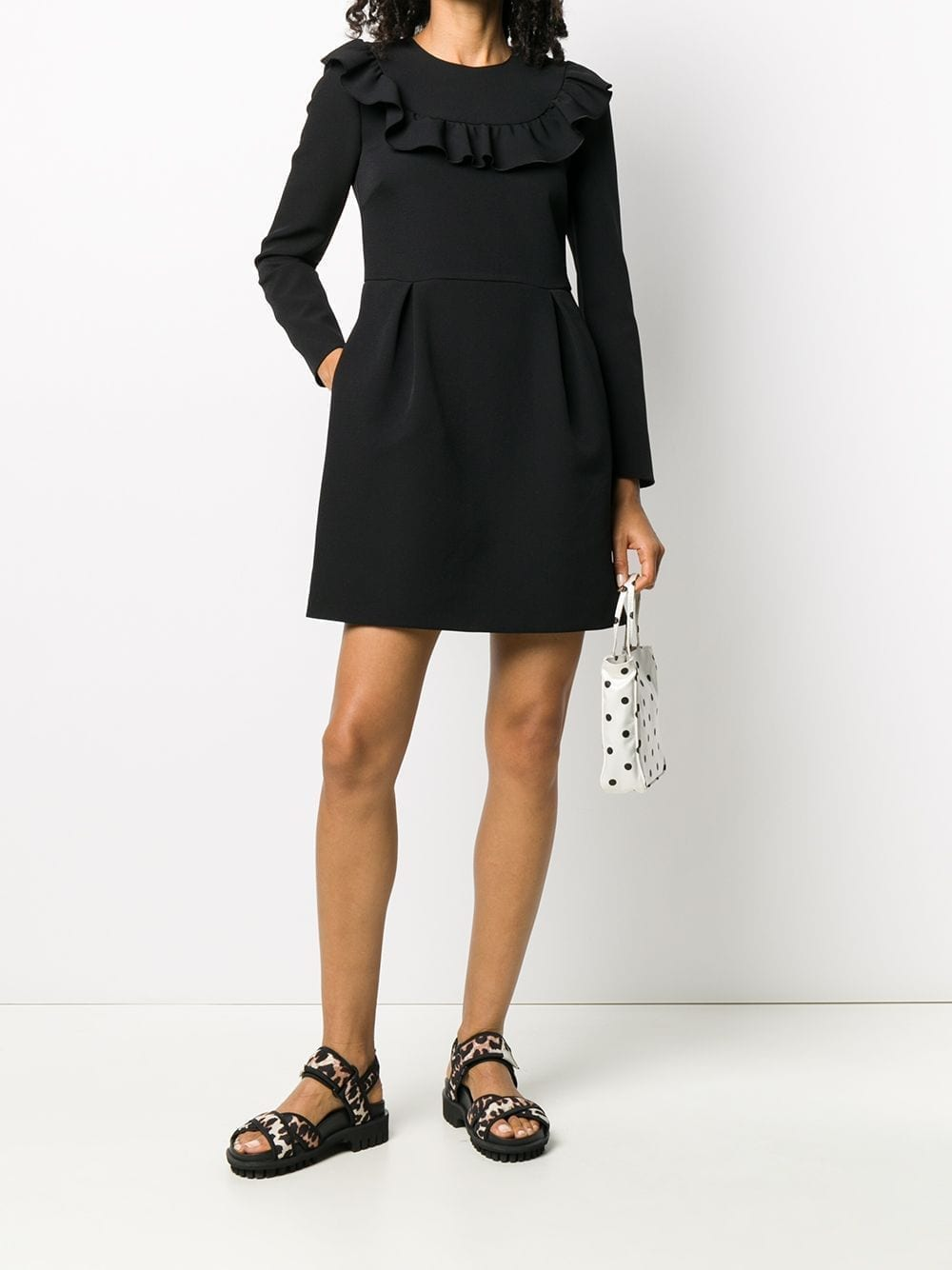 REDVALENTINO Ruffle-detail Long-sleeve Dress
