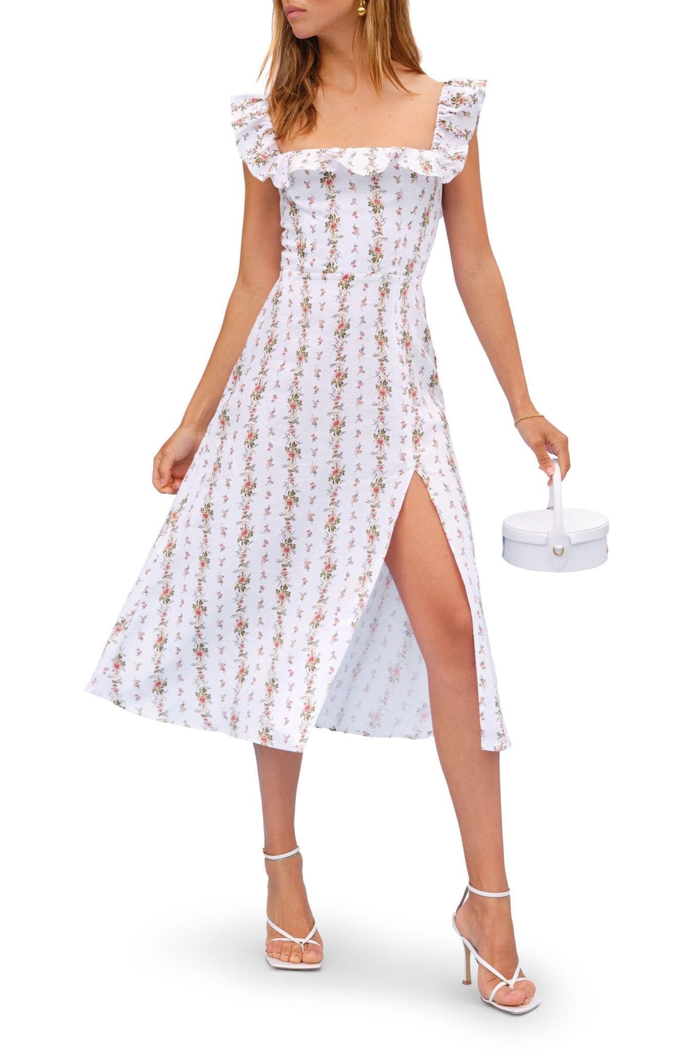 REFORMATION Amethyst Floral Ruffle Neck Linen Midi Dress