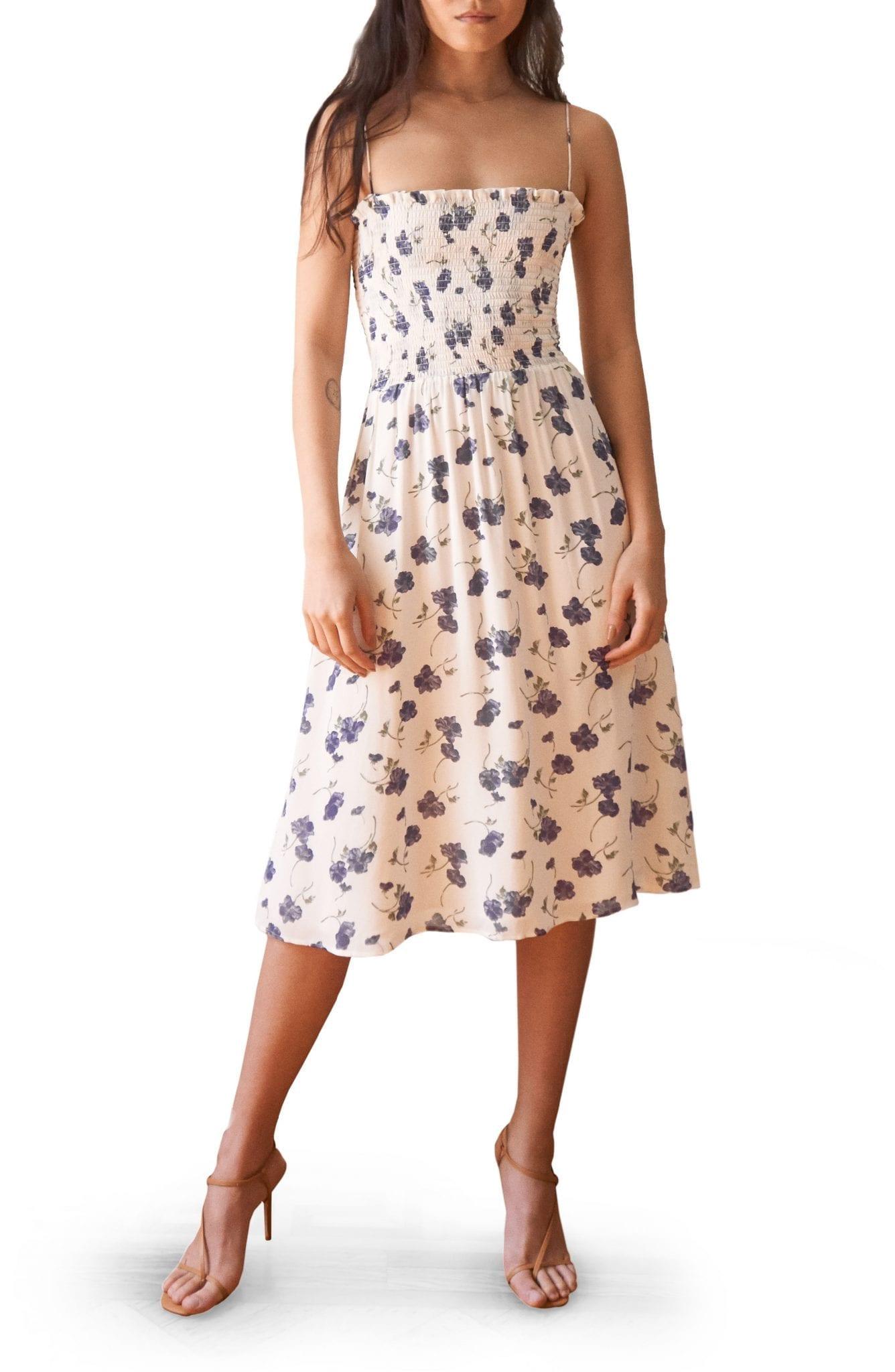 REFORMATION Sable Smocked Bodice Midi Dress
