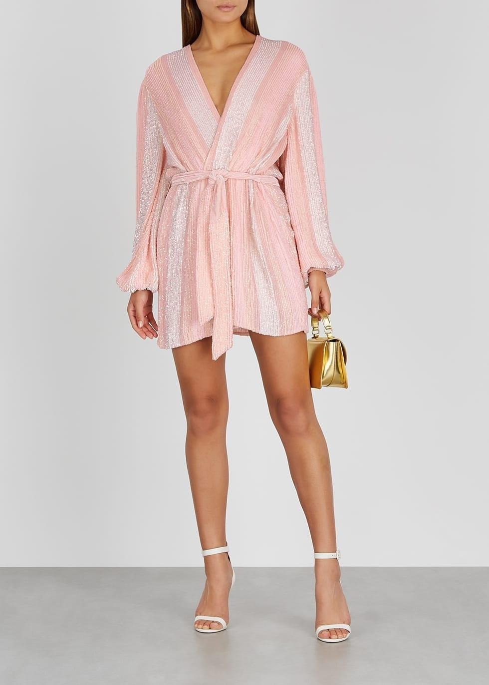 RETROFÊTE Gabrielle Pink Striped Sequin Mini Dress