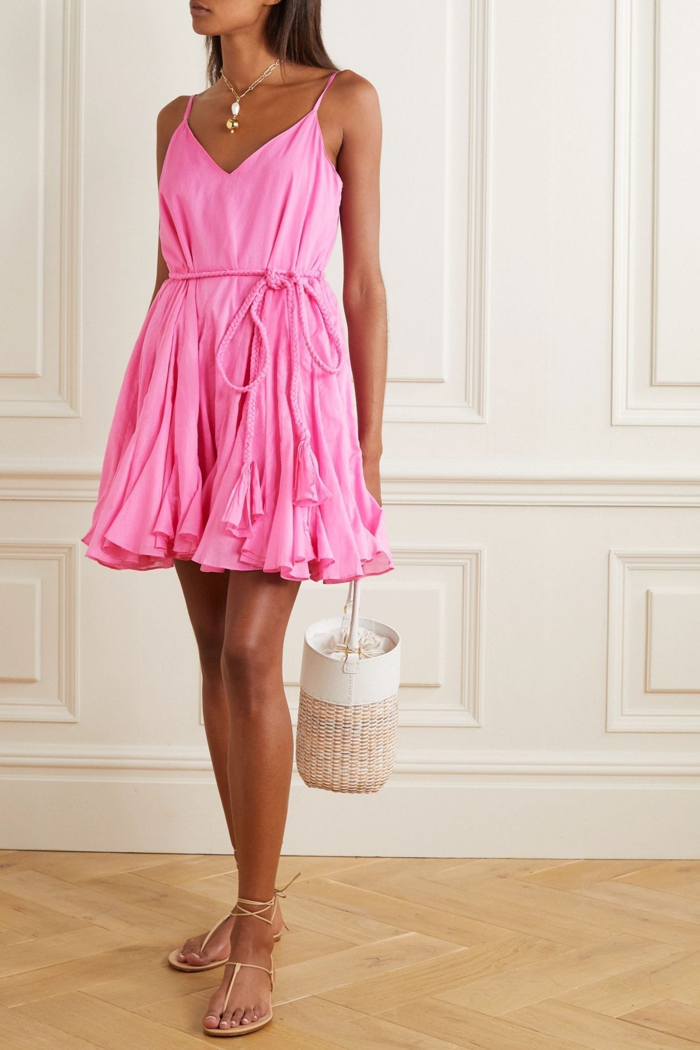 RHODE Casey Belted Ruffled Cotton-voile Mini Dress