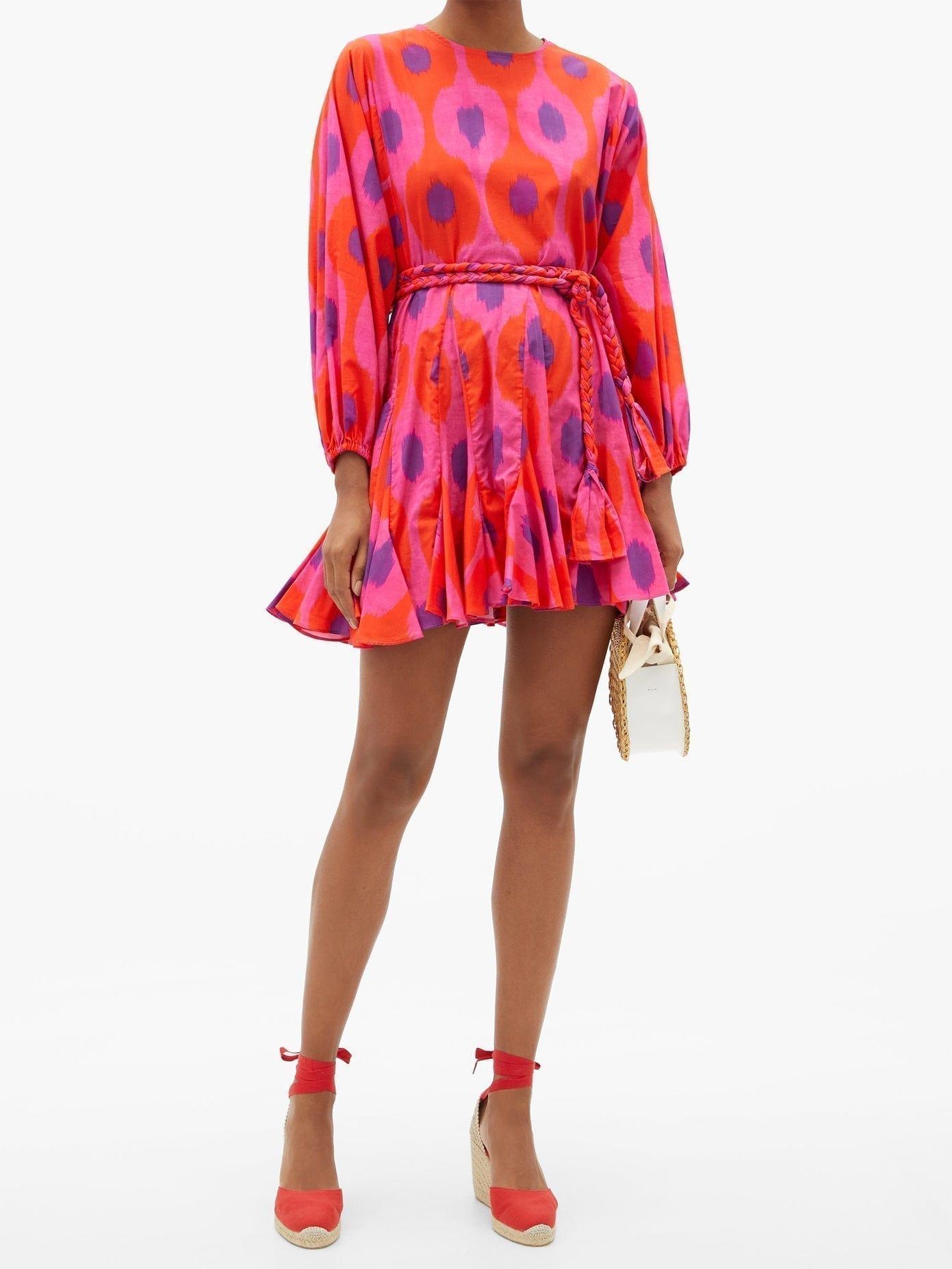 RHODE Ella Belted Ikat-print Cotton Mini Dress