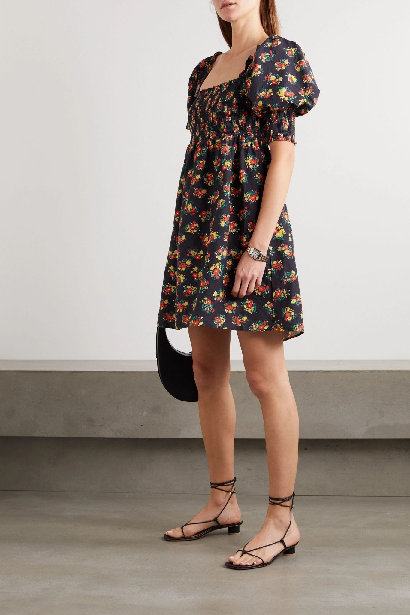 RIXO Brenda Shirred Floral-print Linen Mini Dress
