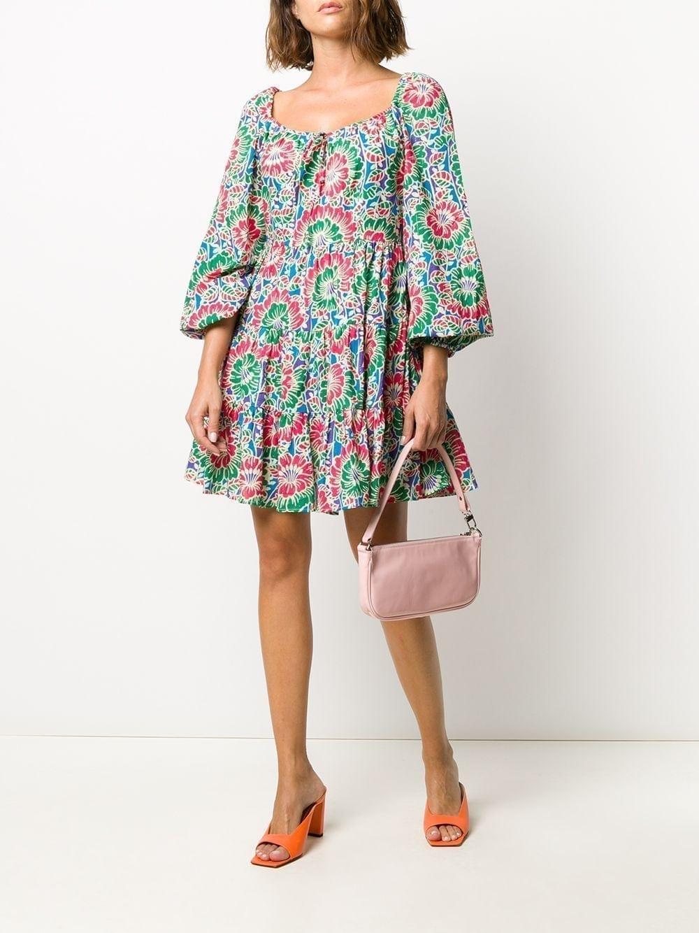 RIXO Tie Neck Floral Print Dress