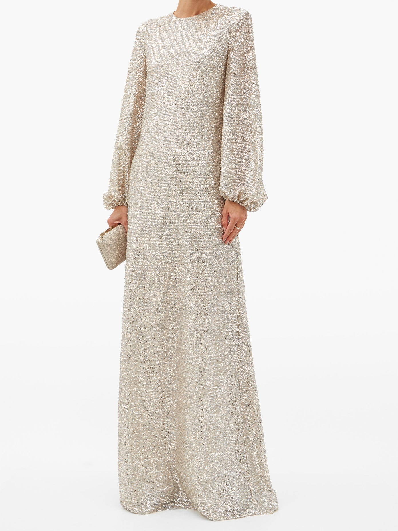 ROCHAS Puff-sleeve Sequinned-jersey Maxi Dress
