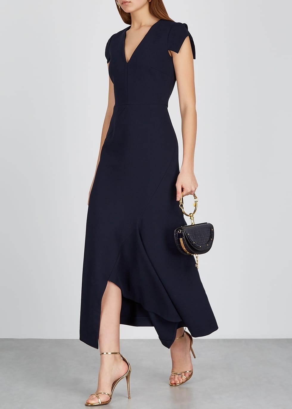 ROLAND MOURET Kinglake Navy Midi Dress