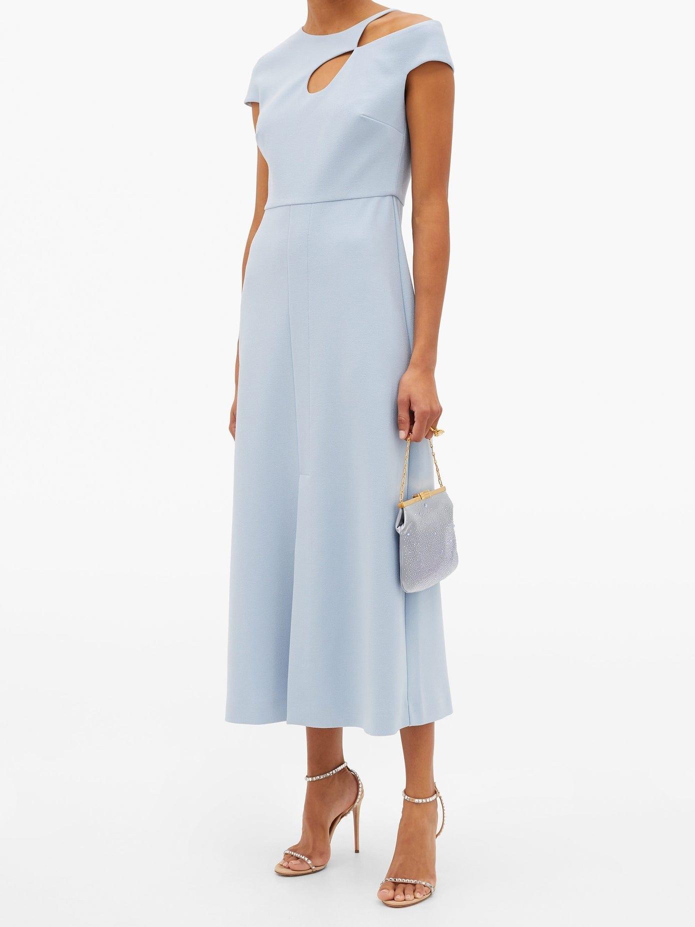ROLAND MOURET Thean Asymmetric Crepe Midi Dress